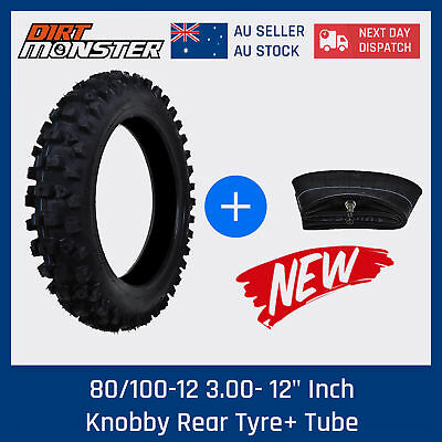 "80/100-12 3.00-12"" Inch Knobby Tyre Tire with Tube Pitpro Trail Dirt Pit Bike"