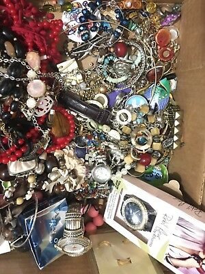 Vintage Now Estate Jewelry Junk Drawer Lot Unsearched Untested Wearable 21 pound