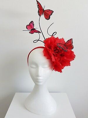 Miss Springtime womens flower and butterfly headband fascinator in Red