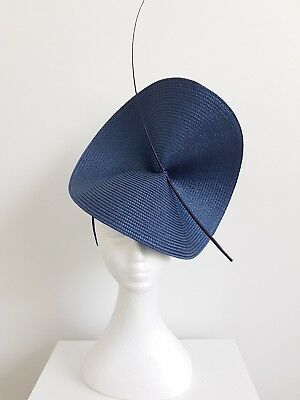 Miss Moneypenny  womens large disk headband fascinator in Navy Blue