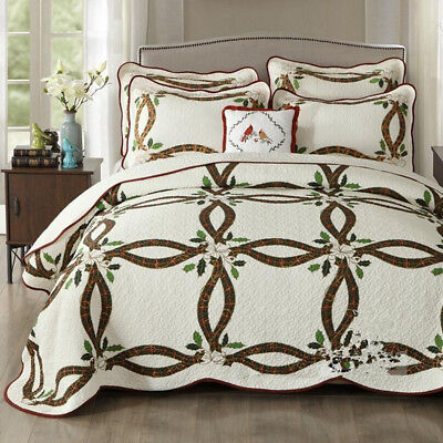 Floral Quilted Patchwork Bedspread Set Queen Size Coverlet Blanket Throw Rug Set