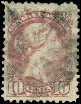 Canada #40 used F-VF 1877 Queen Victoria 10c dull rose lilac Small Queen