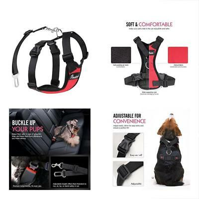 PAWABOO Dog Safety Vest Harness Pet Adjustable Car Mesh Travel Strap With Seat