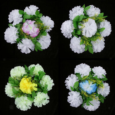 Artificial Silk Chrysanthemum Funeral Grave Tribute Mourning Flower Wreath 30cm