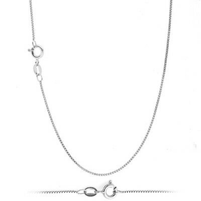 925 Solid Sterling Silver .8mm Thin Box Chain Necklace for Pendants 16 inch 40cm