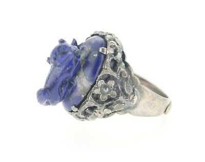 18th Century Antique Silver Lapis Lazuli Stone Ring Size Adjustable Vintage Old