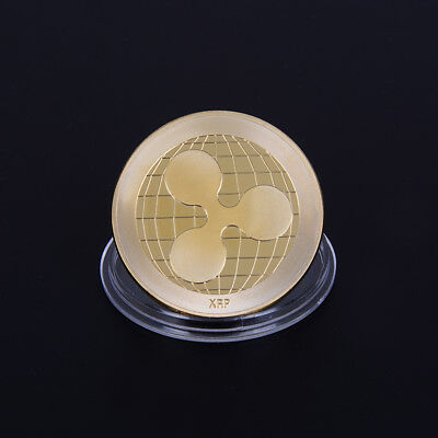1pc gold plated ripple coin crypto commemorative ripple collectors coin gift  F