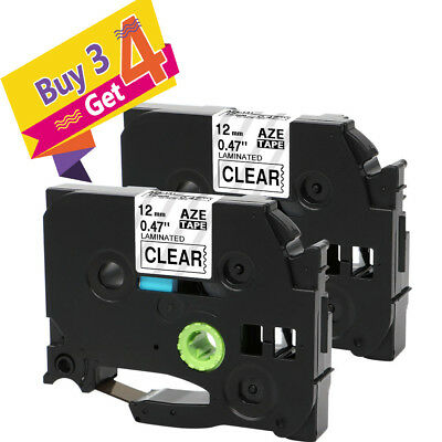 TZe-131 Brother P-touch Compatibel Label Black on Clear 1/2'' Tape 2PK Refills