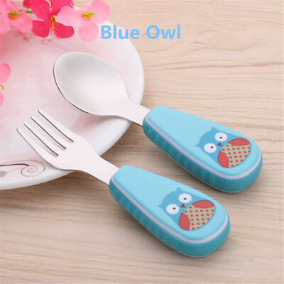 Cheap 2pcs/ Set Portable Children Baby Feeding Stainless Steel Spoon Fork Safety