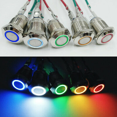 Car Momentary Metal Flat LED Lamp Waterproof Push Button Switch Mountings 12mm