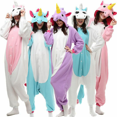 Adult Fleece Unisex Kigurumi Unicorn Bodysuit Pajamas Cosplay Costume Sleepwear