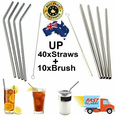 UP 40x Stainless Steel Metal Drinking Straw Straws Washable Reusable + Brush Pre