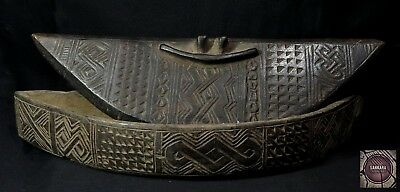 Antique Kuba Carved Wooden Box - DR Congo
