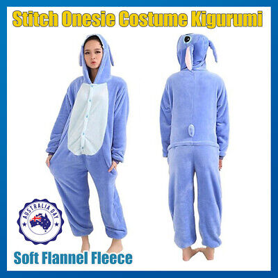 Adult Fleece Unisex Kigurumi Stitch Bodysuit Pajamas Cosplay Costume Sleepwear