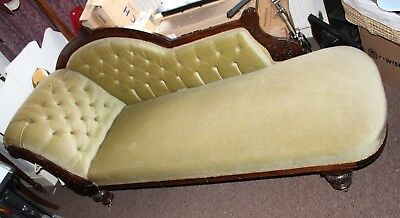 Antique carved Victorian 3 piece chaise longue nursing chairs suite c1890
