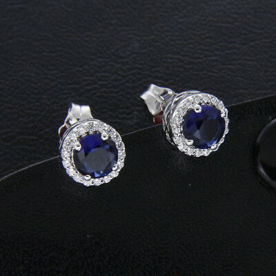 Round Cut 1.50ct Blue Sapphire & Diamond Halo Stud Earrings 14k White Gold Over