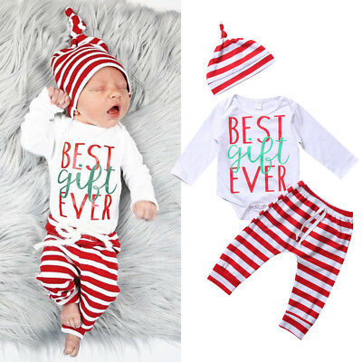 AU Stock Xmas Newborn Baby Boy Girl Outfit Clothes Romper Tops+Striped Pants Hat
