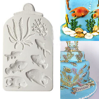 Fish Coral Silicone Fondant Mold Beach Sea Cake Border Decorating Icing Mould UK