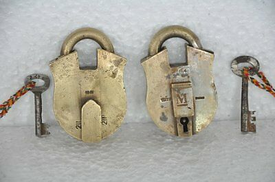 2 Pc Old Brass Handcrafted Unique Shape Solid Heavy Padlock , Rich Patina