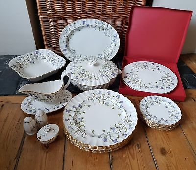 SPODE CANTERBURY Y8497 FLUTED BONE CHINA PART DINNER SERVICE campanula