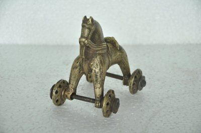 Old Brass Handcrafted Solid Heavy Horse Figurine , Rich Patina