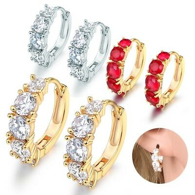 18k Gold Filled Stunning Women Cubic Zirconia Red Ruby Crystal Hoop Earrings