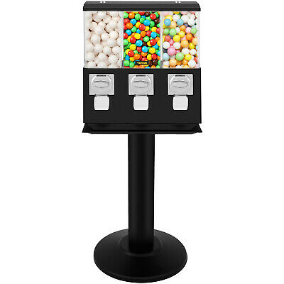 Triple Bulk Candy Vending Machine with Stand 3-Head Gumballs For 25 Cent