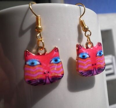 Cat Face Earrings Hand Painted pink blue eyes Hook I love Cats Crazy Cat Lady