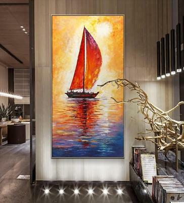 HH327 Large Abstract oil painting 100% Hand-painted on canvas Boat No Frame