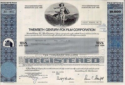 20th Twentieth Century-Fox Film Corporation, 1978, 10 1/4% Debenture  (10.000 $)
