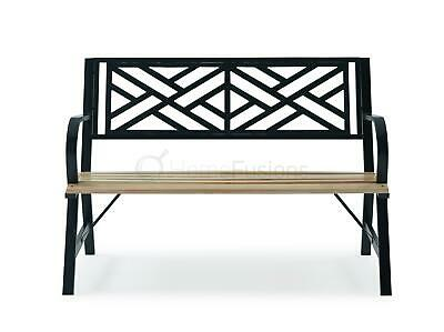 Outdoor Garden 3 Seater Cast Iron Back Park Bench Seat Furniture Patio Chair New