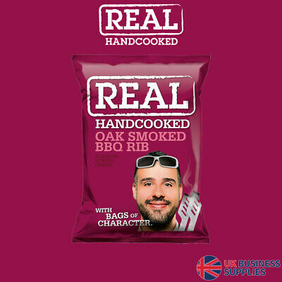 Real Crisps Hand Cooked Oak Smoked BBQ Rib Flavour 24 x 35g