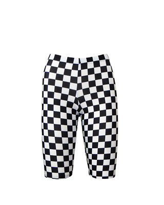 Monochrome Classic Checkers Squares Chessboard Printed Cycle Shorts