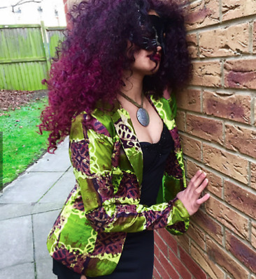 African wax cotton print green blazer S-M