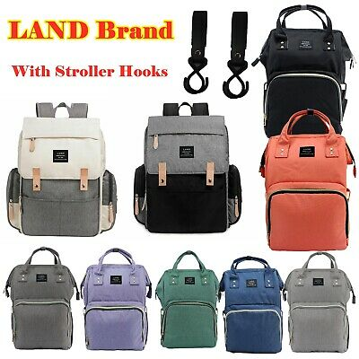 LAND Mommy Baby Diaper Bag Large Capacity Backpack Baby Nappy Tote Bag Hooks
