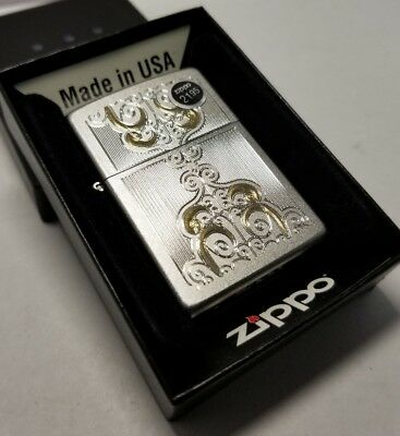 Zippo 24906 Gold scroll scrolled Lighter satin engraved brass New old stock