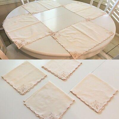 EUC Cotton Cutwork Embroidery Napkin & Placement Set - 4 of Each - Ivory