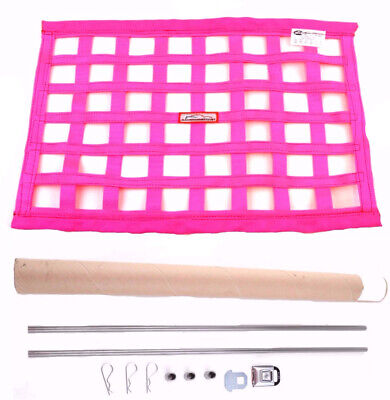 Sfi 27.1 Square Ribbon Safety Window Net With Installation Hardware Kit Pink