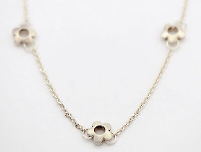"""Sterling Silver Flower Choker Necklace 16"""" with Toggle Clasp"""