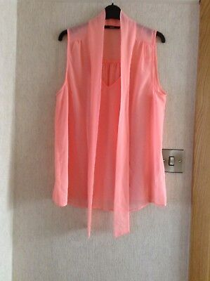 0ced8d99adb9d4 Oasis Peach Sheer Blouse With Tie Front Sleeveless Size 16 New No Tags