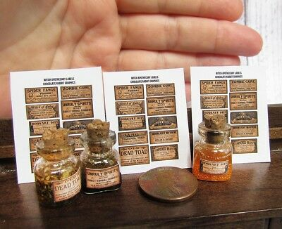 1:12 Miniature Dollhouse Halloween Potion Bottle Labels 10 Printed  - 3 Sheets