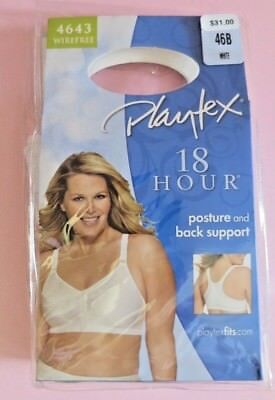 119f524bc 4643 Playtex Bra White 18 Hour Posture Back Support Front Closure Wire Free  46B