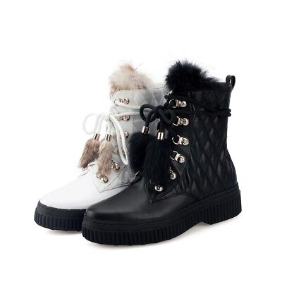 Fashion Women Round Toe Lace up Fur POM Lining Winter Zip Ankle Boots Shoes size