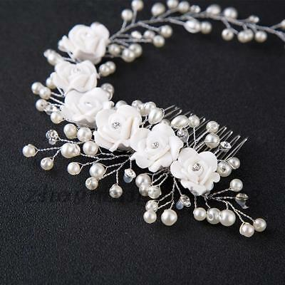 Flower Garland Pearl Headband Wedding Bride Hair Accessories HeadPiece Party Z