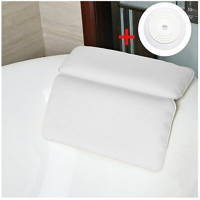 Bath Pillow Spa Comfort Suction Cup Waterproof Head Neck & Back Support Cushion