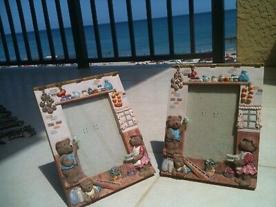 """Set of 2 Teddy Bear Family Ceramic Picture Frames for 5"""" x 4"""" Photos"""
