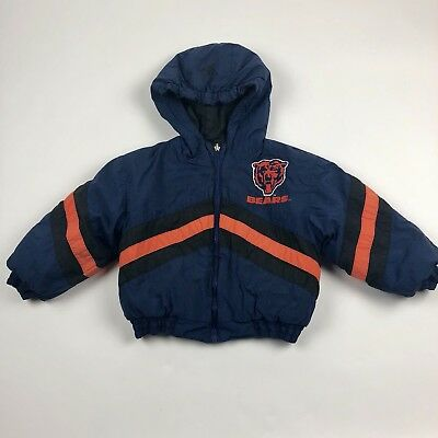 Vintage 90s Mighty Mac Sports Chicago Bears Reversible Jacket Coat Toddler Sz 4