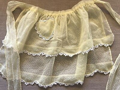 Vintage Yellow and White Dotted Swiss Apron