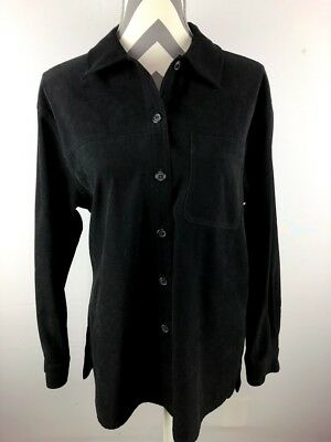 7ffeba61467 Talbots Womens Black Button Down Blouse Casual Top Faux Suede Medium