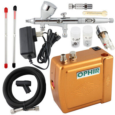 OPHIR 3 Tips Dual Action Airbrush Kit 12V Mini Air Compressor Hobby Model Cake